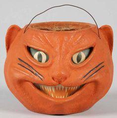 Vintage Halloween Paper Mache ~ Orange Siamese Cat Jack-O-Lantern * Circa, 1950's