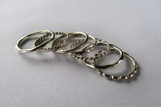 Assorted stacking rings. #silver #patternrings #jewelry #christmasgift #handmadejewelry
