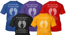 """WHO IS YOUR """"GUARDIAN ANGEL""""?  Limited Edition Guardian Angel Tee's for those of us who have family in heaven. Just Click the Image to get yours. #angels #Guardianangel"""