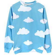 Clouds Sweatshirt ($61) ❤ liked on Polyvore featuring tops, hoodies, sweatshirts, sweaters, long sleeves, crew top, long sleeve knit tops, blue top, crew neck tops and blue sweatshirt