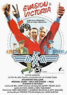 """""""Evasión o Victoria"""" con Pelé, Michael Caine, Max von Sydow y Silverter Stallone."""
