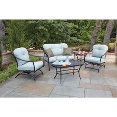 Woodard Worldwide Ridgeview Patio Seating Set with Blue Cushions - The Home Depot Small Pergola, Wood Pergola, Cheap Pergola, Pergola Patio, Pergola Cover, Pergola Plans, Pergola Kits, Pergola Ideas, Patio Ideas
