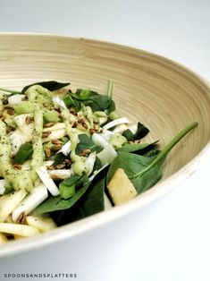 Fennel salad with spinach, apple, avocado & avocado dressing. | spoons & splatters