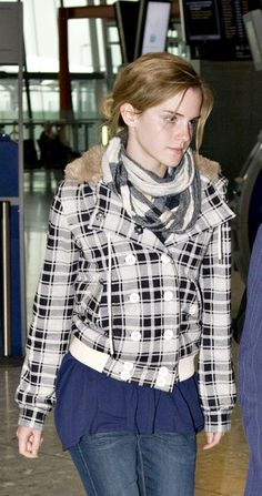 Emma Watson Wool Scarf Emma stays warm in this double wrapped scarf.