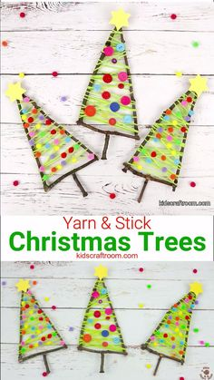 Make a gorgeous and colourful Stick Christmas Tree Craft. Have fun decorating it with buttons, pom poms, sequins or beads. Such a lovely nature craft and Christmas craft for kids! decoration ideas videos Yarn and Stick Christmas Tree Craft Kids Crafts, Twig Crafts, Craft Stick Crafts, Kids Diy, Decor Crafts, Craft Paint, Craft Kids, Kids Nature Crafts, Craft Stick Projects