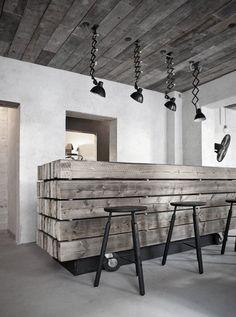Wooden bar, fun to do in a garage a basement.