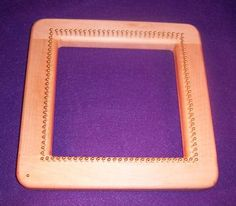"7"" Square. Maple Continuous Strand Weaving Loom with Brass Pins"