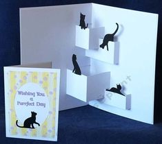 Cats Popup Card - Cornelia - Cats Popup Card The file contains the inside pop up with cat toppers and also the outer base card, the oval cat frame with cat topper and sentiment. The outer card would make a nice card just on it's own. 3d Cards, Stampin Up Cards, Diy Popup Cards, Popup Cards Tutorial, Fancy Fold Cards, Folded Cards, Arte Pop Up, Pop Up Art, Pop Up Card Templates