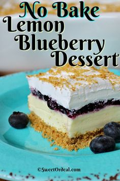 No Bake Lemon Blueberry Dessert is cool and refreshing, tart and sweet, easy and pretty. No Bake Lemon Blueberry Dessert is cool and refreshing, tart and sweet, easy and pretty. Mini Desserts, No Bake Summer Desserts, Pudding Desserts, Easy Desserts, Delicious Desserts, How To Make Desserts, Easy Cream Cheese Desserts, Baking Desserts, Cake Baking