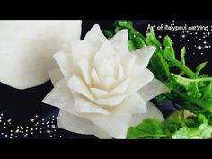Art In White Radish Rose Flower | Vegetable Carving Garnish | Roses Garnish - YouTube - TUTORIAL