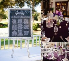 Chalk escort card | chalkboard wedding idea | purple wedding colors | W PHOTOGRAPHY | hilton-head-wedding-photographer_0638.jpg