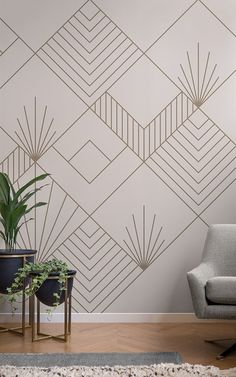 Perfect for those with an eclectic style, this rose gold art deco wallpaper will welcome a stylish new theme to your space.