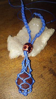 Macrame crystal net necklace