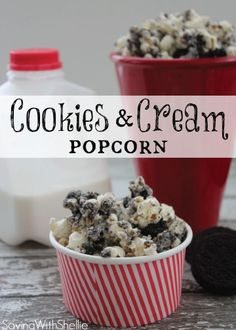 Pop a movie in and gather just 3 ingredients and you'll be on your way to creating this sweet Cookies and Cream Popcorn recipe in no time—it takes just 5 minutes to make!