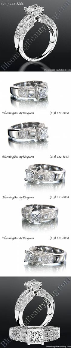 Unique Princess cut antique style diamond engagement ring by http://www.BloomingBeautyRing.com (213) 222-8868 #Princess #Antique #Ring #Diamond
