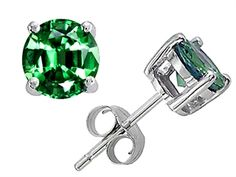 Original Star K Round 7mm Simulated Emerald Earrings Studs - 302266