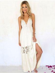 Vestido de verano 2018 Vestido maxi sin espalda de las mujeres del vestido blanco