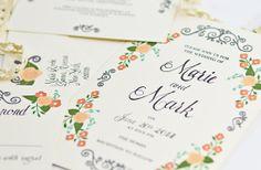 Peach mint wedding invitation handpainted by BeholdDesignz on Etsy, $3.60