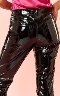 Black Patent PU Pants by Glamorous