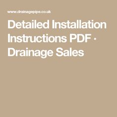 Detailed Installation Instructions PDF · Drainage Sales