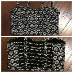 B&W Printed Caged Back Super cute crop top / bralette with trendy caged back!  Perfect festival wear!  Pair with an oversized cardigan for the fall.  Worn once, excellent condition. Garage Tops Crop Tops