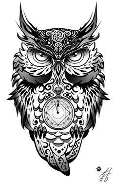 ein sehr schöner schwarzer moderner owl tattoo mit einem schwarzen großen uhu und einer uhr
