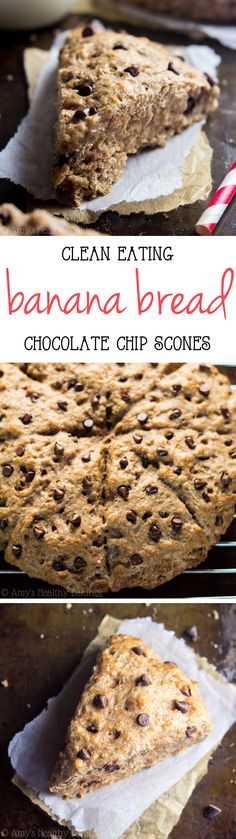 Healthy Chocolate Chip Banana Bread Scones {With Step-by-Step Video!} Clean-Eating Chocolate Chip Banana Bread Scones — so easy, supremely tender & packed with of protein! Clean Eating Chocolate, Healthy Chocolate, Healthy Sweets, Healthy Baking, Eating Healthy, Baking Recipes, Dessert Recipes, Scone Recipes, Paleo Dessert
