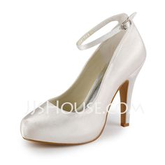 Wedding Shoes -  Satin Stiletto Heel Closed Toe Platform Pumps Wedding Shoes With Buckle (047005346) http://jjshouse.com/Satin-Stiletto-Heel-Closed-Toe-Platform-Pumps-Wedding-Shoes-With-Buckle-047005346-g5346