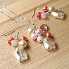 Peaches and Cream Bead Cluster Pendant and Earrings Set £18.00