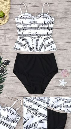 Up to 80% OFF + Free shipping on orders over $30.Musical Notes Print Peplum Tankini Set. Swimwear 2017:Zaful,Bikinis,Micro bikini,High waisted bikini,Halter bikini,Crochet bikini,One-pieces,Tankini set,Cover ups,to find different swimwear(bathing suit,swimsuits) ideas @zaful Extra 10% OFF Code:ZF2017