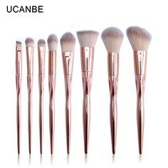 8pcs Rose Golden Metallic Makeup Brushes Set Grasp Brush Professional Foundation Powder Eyeshadow Contour Pinceis Kit By UCANBE