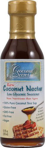"Coconut Secret Raw Coconut Nectar coconut nectar is a low glycemic ingredient. Coconut nectar only has 13 grams of carbohydrate in one tablespoon versus the 36 grams of carbs. Another benefit of coconut nectar (sap) is it contains 17 amino acids, vitamin C, broad-spectrum B vitamins and a nearly neutral pH. It is also thicker than agave nectar which makes it great for use as a ""syrup"""