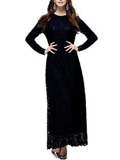 Aimur Womens Lace Abaya Jilbab Muslim Kaftan Dress Long Sleeve Maxi Dress Black -- You can get additional details at the image link.