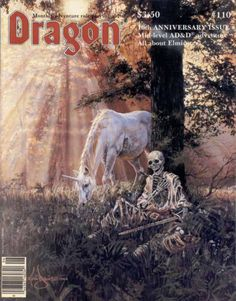 """""""Message for you, Sir."""" """"Brave, brave Concorde! You shall not have died in vain!"""" (Actually """"The Vanquished Cavalier"""" by Kevin Davies, winner of the Amateur Best of Show at the 1984 World Fantasy Convention, on the cover of Dragon #110, the 10th..."""