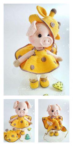 Amigurumi Small Cute Piggy Free Pattern – Free Amigurumi Patterns Crochet Dolls Free Patterns, Amigurumi Patterns, Amigurumi Doll, Crochet Pig, Crochet Animals, Cute Piggies, Little Doll, Stuffed Animal Patterns, Crochet Projects