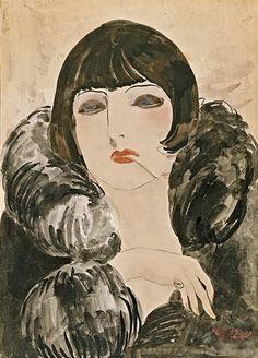 Kees van Dongen (Dutch, 1877-1968), Portrait of a Woman with Cigarette (Kiki de Montparnasse),ca. 1922-24.Watercolour on paper,49.5 x 35.4cm.Museo Thyssen-Bornemisza, Madrid