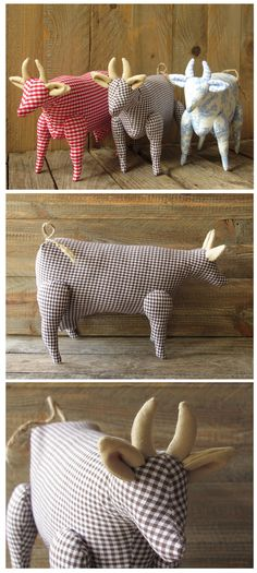 Tilda cow made of gingham fabric brown white decoration country style animal farm cow collectors item fabric cow
