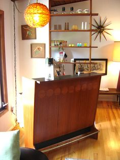 mid century bar (which is great, but I'm really after the room divider/shelving behind it)