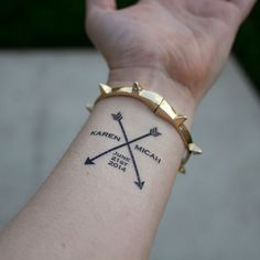 Arrow Wedding Temporary Tattoos custom par KristenMcGillivray, $29.00