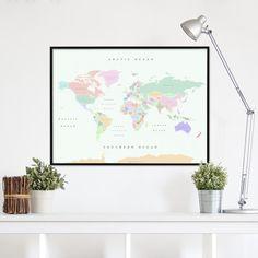 La Geografia sulla tua parete ✓ Arriva la mappa del mondo politica ✓ Il mappamondo educativo e colorato da 44,90 € e 3 disegni a scelta ✓ Entra e comprala subito!