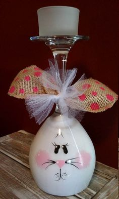 Easy Dollar Store DIY Easter Bunny and Chick wine glass votive centerpieces. The Best Easy DIY Easter Decoration Ideas. Wine Glass Candle Holder, Wine Candles, Bottle Candles, Glass Votive, Glass Holders, Wine Glass Crafts, Wine Bottle Crafts, Wine Bottles, Beer Bottle