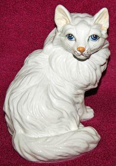 Vintage Italian Pottery White Cat Figure