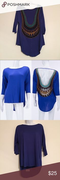 Crochet Back Lace Detail Top Very cute and flattering top. High-low style, soft material. The back of the top is shown in the first picture. The Blossom Apparel Tops Blouses
