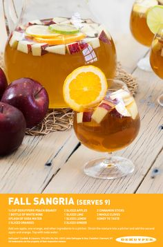 Master how to make a Fall Sangria with a modern twist. The Cocktail Project will help you make the new signature homemade white wine Sangria. Thanksgiving Drinks, Fall Drinks, Fun Cocktails, Fall Sangria, White Wine Sangria, Sangria Cocktail, Peach Sangria Recipes, Cocktail Recipes, Drink Recipes