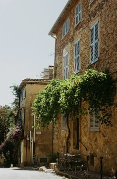 azure shutters on a home in saint tropez, france
