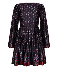 Iska London Navy & Red Floral Fit & Flare Dress   zulily