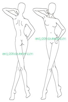 Fashion Model Outlines For Fashion Designing Fashion model sketch template