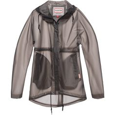 HUNTER Original Clear Smock Graphite // Transparent rain coat ($220) ❤ liked on Polyvore featuring outerwear, coats, jackets, tops, waterproof coat, rain coat, transparent raincoat, black raincoat and transparent rain coat