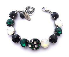 12mm Swarovski Crystal Rivoli Bracelet Emerald by SiggyJewelry