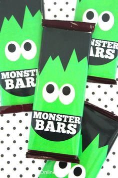 Love these cute monster bar wrappers. Perfect for a classroom treat! #showandtellparty